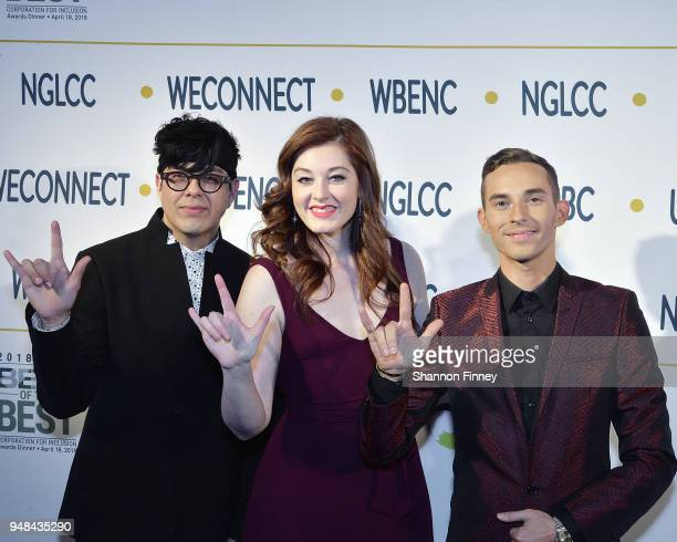Stage actor George Salazar singer Mandy Harvey and Olympic figure skater Adam Rippon make the deaf sign for 'love' on the red carpet at the 2018...