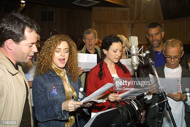 Stage actors Matthew Broderick Bernadette Peters Tony Roberts Bebe Neuwirth Betty Buckley Brian Stokes Mitchell and Joel Grey participate in Broadway...