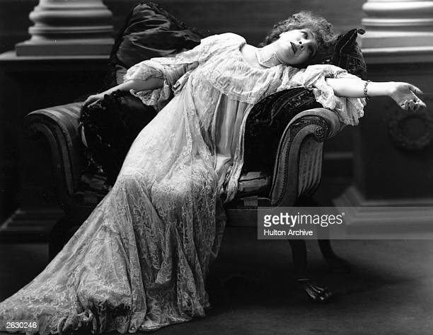 Stage actress Sarah Bernhardt, , arguably the greatest tragedienne of her day, in a scene from an unnamed theatre production. Original Publication:...