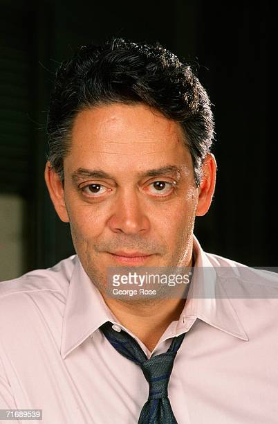Stage and film actor Raul Julia poses during a 1988 Santa Monica California photo portrait session Photographed on the set of Tequila Sunrise Julia...