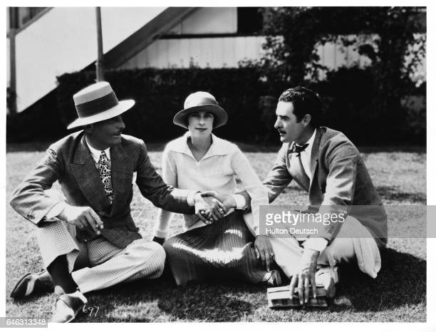 Stage and film actress Beatrice Lillie with actors John Gilbert and Lew Cody ca 1928