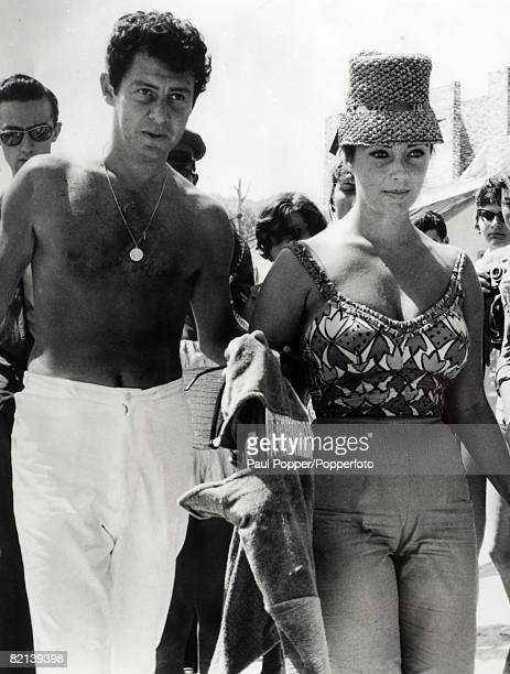 Stage and Screen Greece Film and movie actress Elizabeth Taylor on holiday at the Greek Island of Aegina with husband Eddie Fisher