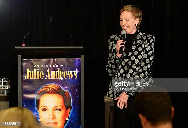 Stage and screen icon Julie Andrews speaks at a press conference during her first visit to Australia on May 16 2013 The star of movies such as Mary...