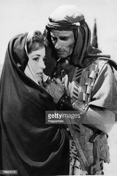 Stage and Screen Jersulem Israel American actor Jeff Chandler with actress Barbara Shelley from a scene from the film The Story of David
