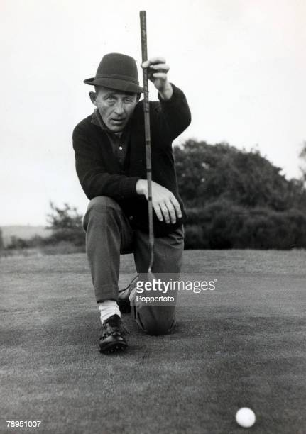 Stage and Screen Music / Personalities pic 16th October 1960 Bing Crosby pictured sizing up a shot at the 18th green at the West Sussex golf course...
