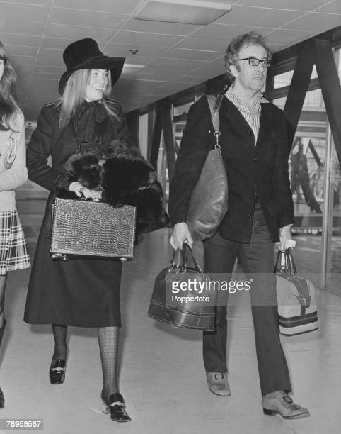 10th February 1970 British actor and comedian Peter Sellers arrives at London's Heathrow Airport accompanied by Miranda Quarry