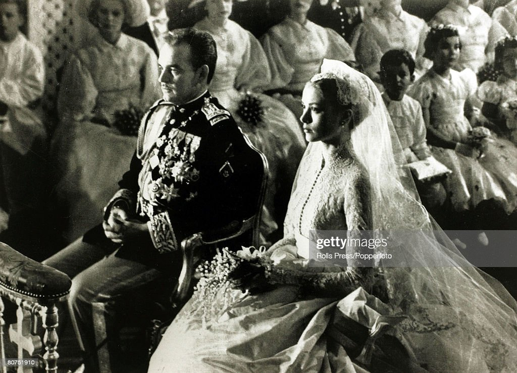18th April 1956, American actress Grace Kelly marries Prince Rainier of Monaco, Grace Kelly, (1929-1982) born in Philadelphia, was a cool, elegant beauty, who starred in such films as 'High Noon' and 'To Catch A Thief' before she gave her film career up to become Princess Grace of Monaco when marrying Prince Rainier in 1956
