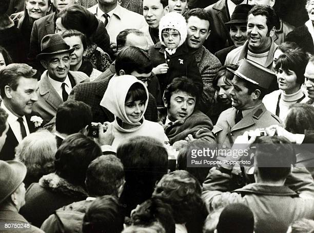 21st January 1968 Actress Audrey Hepburn marries Rome psychiatrist Andrea Dotti at Morges Switzerland as a crowd of well wishers mob the couple...