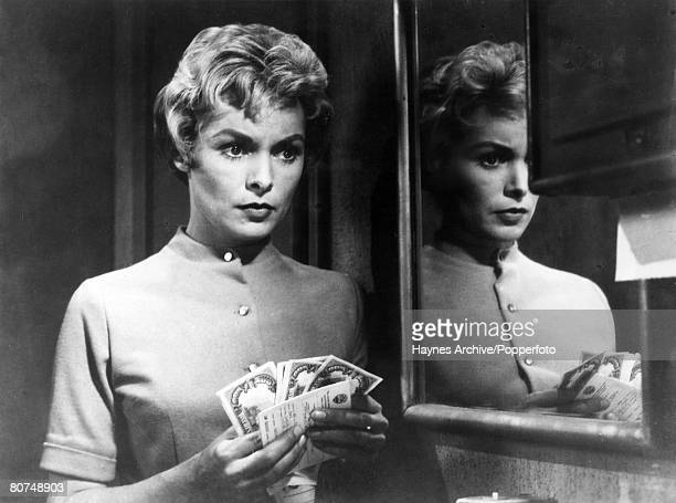 circa 1961 American film actress Janet Leigh in a scene from the film 'Psycho' from Alfred Hitchcock