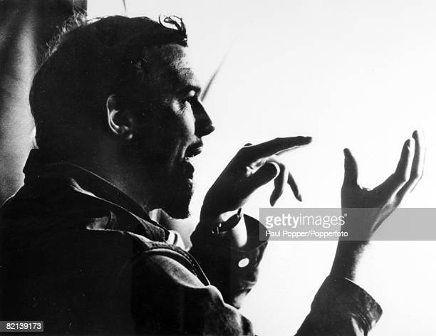 circa 1975 English theatre opera and film director Peter Hall born 1930 in a silhouette style image