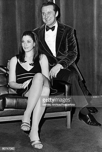 February 1968 Actors Linda Thorson pictured with her Avengers costar Patrick MacNee having just taken up the role of Tara King in the series Canadian...