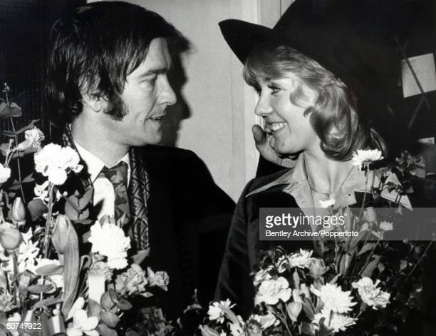 January 1973 British actor Tom Courtenay pictured with his new bride actress Cheryl Kennedy shortly after their wedding