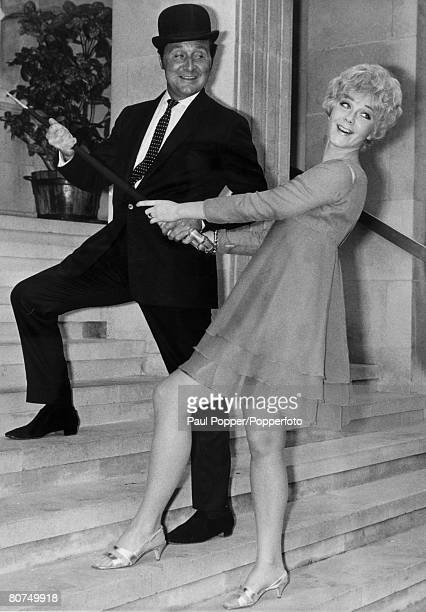 October 1967 Actors Linda Thorson pictured with her Avengers costar Patrick MacNee having just taken up the role of Tara King in the series Canadian...