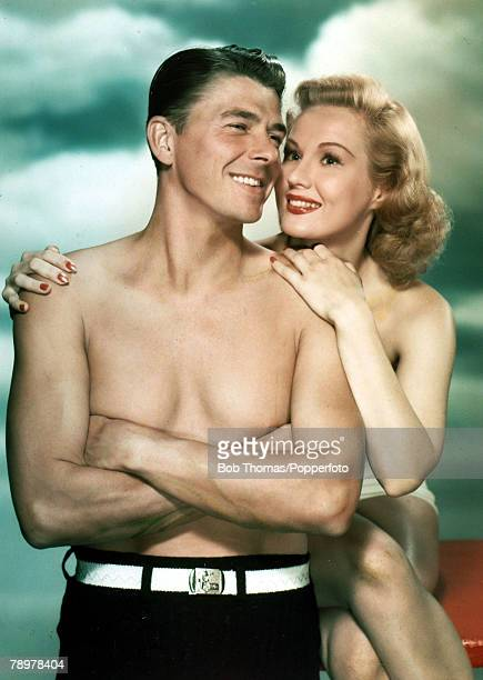 Stage and Screen Personalities USA pic circa 1949 American actor Ronald Reagan with actress Virginia Mayo in a scene from the film The Girl From...