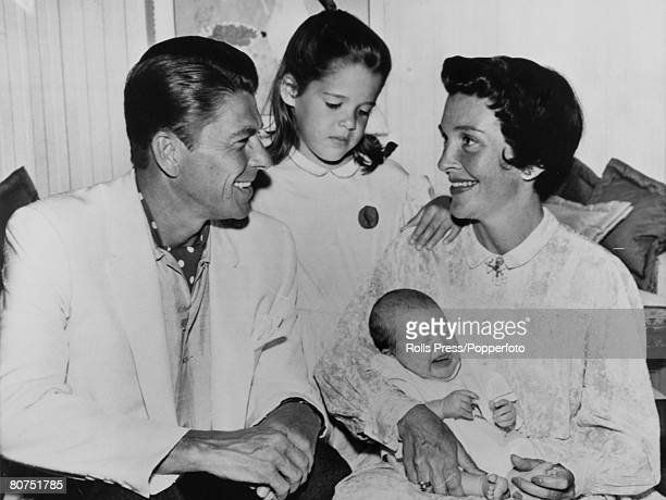 Stage and Screen Personalities USA pic circa 1960 Hollywood California Ronald Reagan with his wife Nancy and their children Patti and baby Ronald Jnr...