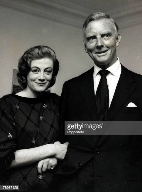4th April 1962 London British actress Sarah Churchill the actress daughter of Sir Winston Churchill pictured with her fiance Lord Audley after the...