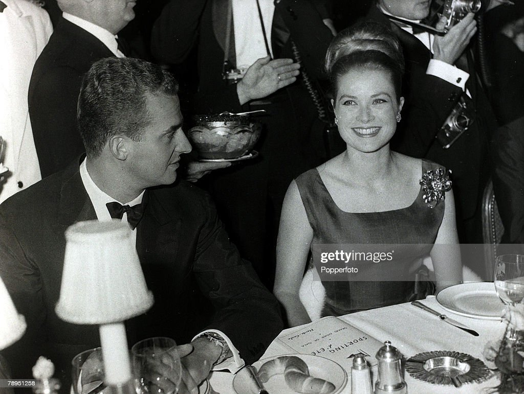 Stage and Screen. Royalty. Personalities. pic: 10th June 1962. Princess Grace sitting next to Don Juan Carlos of Spain at a gala in Monte Carlo. The former Grace Kelly, (1929-1982) born in Philadelphia, was a cool, elegant beauty, who starred in such film : News Photo