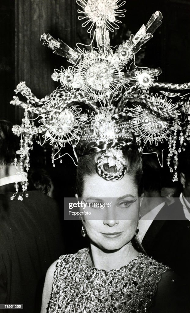 Stage and Screen, Royalty, Personalities, pic: 17th March 1969, Princess Grace of Monaco wearing a Chinese godess's headdress at a ball in Monte Carlo, The former Grace Kelly, (1929-1982) born in Philadelphia, was a cool, elegant beauty, who starred in such films as 'High Noon' and 'To Catch A Thief' before she gave her film career up to become Princess Grace