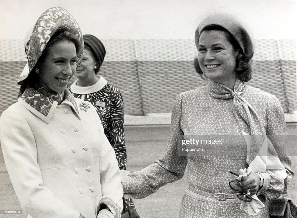 """Stage and Screen, Royalty, Personalities, pic: 3rd July 1972, Princess Grace of Monaco welcomes HRH,Princess Anne to the principality, The former Grace Kelly, (1929-1982) born in Philadelphia, was a cool, elegant beauty, who starred in such films as """"High : News Photo"""