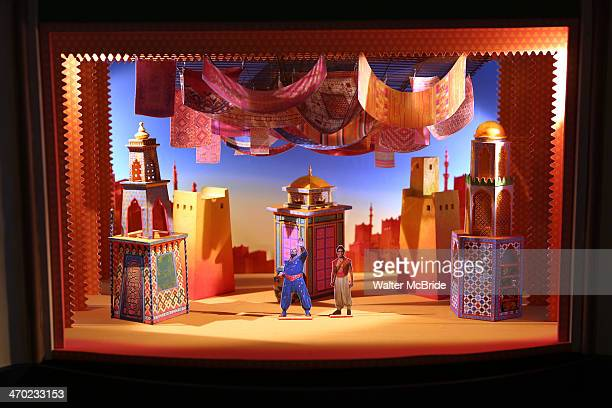 Stage and set design model at the 'Aladdin' Broadway Cast And Creative Team Press Preview at Mandarin Oriental Hotel on February 18 2014 in New York...