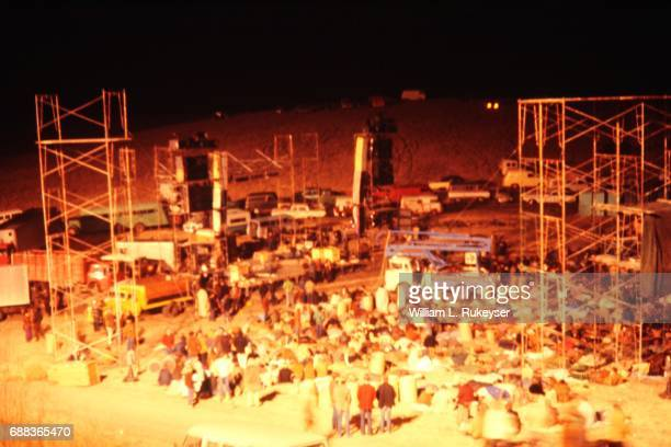 Stage and sound towers are constructed before crowds arrive at the Altamont Speedway for the free concert headlined by the Rolling Stones
