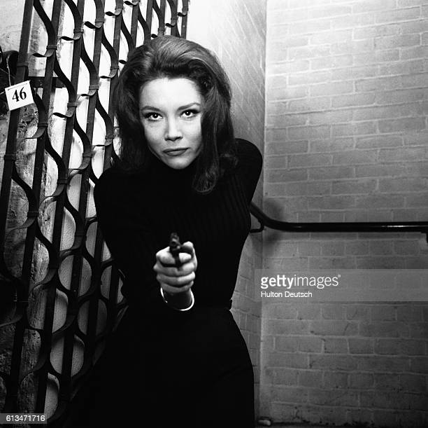 Stage and television actress Diana Rigg in her role of Emma Peel in the television series The Avengers, 1964.