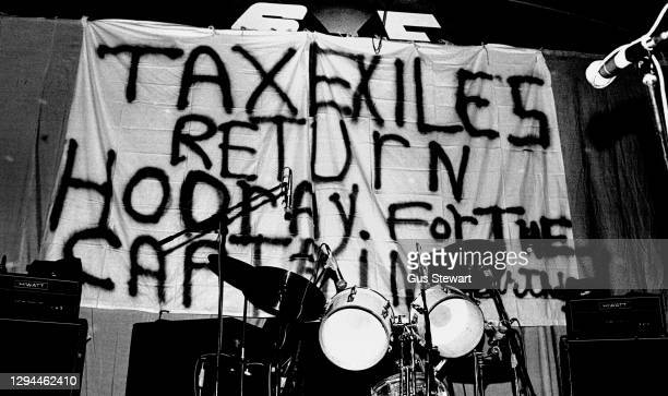 Stage backdrop for The Damned before they came on stage at the Roundhouse, London, England, on April 24th, 1977.