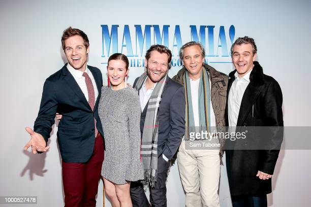 Stage Cast of Mammia Mia Stephen Mahy Sarah Morrison Josef Ber Ian Stenlake and Phillip Lowe attend the Melbourne premiere of Mamma Mia Here We Go...