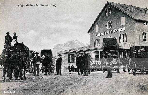 Stage coach at the station at Stelvio Pass postcard Lombardy Italy 20th century