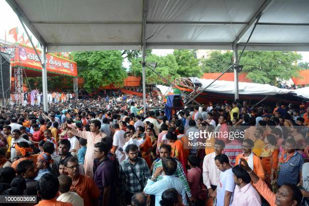 Stage colup s and 97 injuryNarendra Modi Prime ministers of India at the Bjp political party rally at West Mednapore district in West Bengal on July...