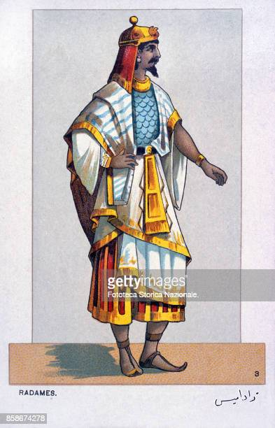 Stage costume of Radames character from 'Aida' the Opera by Giuseppe Verdi and Antonio Ghislanzoni From a series of 24 chromolitographs illustrating...