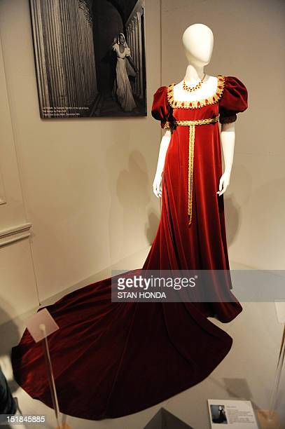 """Stage costume worn by opera singer Maria Callas in Tosca and designed by Marcel Escoffier is displayed on March 1, 2011 in the exhibition, """"Maria..."""