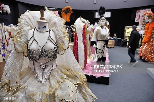 Stage costumes are pictured ahead of an auction in Paris on January 23 2013 of a unique collection containing over 5000 costumes and accessories from...