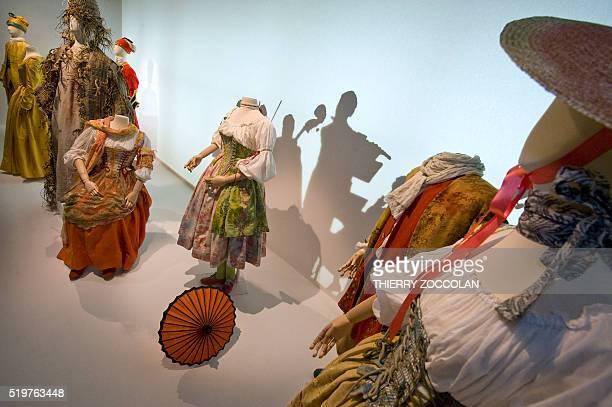 Stage costumes by Alain Blanchot dans 'Dafnis et Eglé' and 'La Naissance d'Osiris' by French composer Jean Philippe Rameau at the Theatre de Caen en...