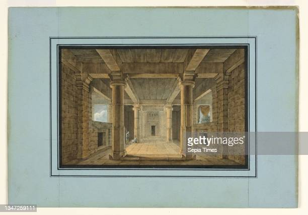 Stage Design, Entrance to an Oriental Temple, Karl Josef Koebel, German, active Italy, 1796 - 1850, Pen and black ink, brush and watercolor, ruled...
