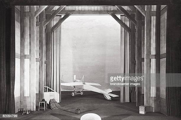 Stage design with sailplane designed for the play 'Kinder der Erde' by Thaddaeus Ritter Hofburgtheater Vienna Photograph 1915 [Aeroplan fr das...