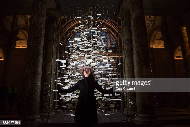 Stage designer Es Devlin poses beside a 'Christmas Tree' in the entrance to the VA Victoria and Albert museum on November 28 2017 in London England...