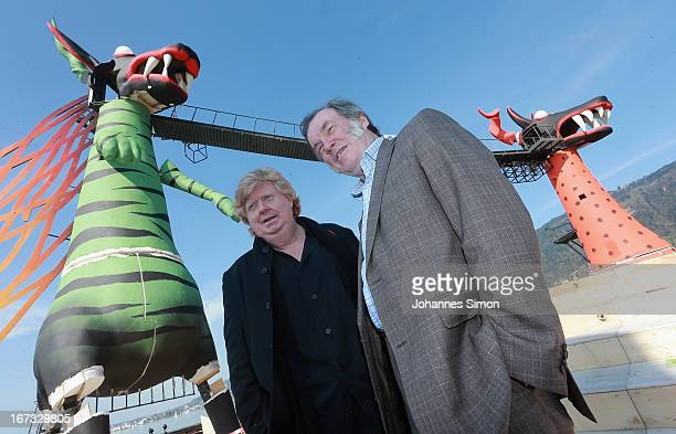Stage designer Johan Engels and opera director David Pountney pose during the roofing ceremony of the 'Seebuehne' on April 24, 2013 in Bregenz,...