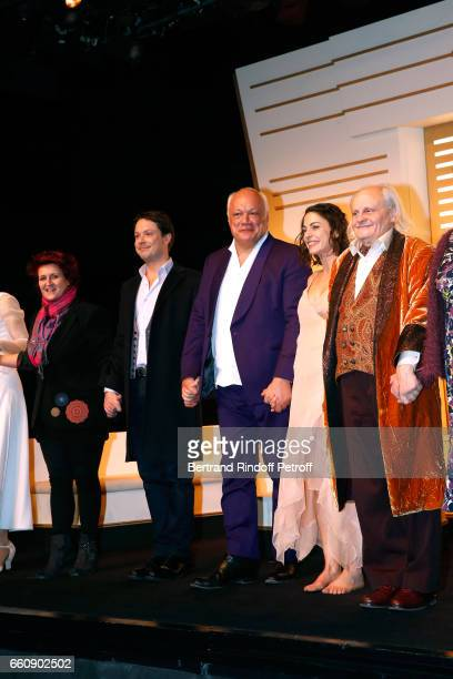 Stage Director Anne Bourgeois Davy Sardou Autor EricEmmanuel Schmitt Noemie Elbaz and JeanPaul Farre acknowledge the applause of the audience at the...