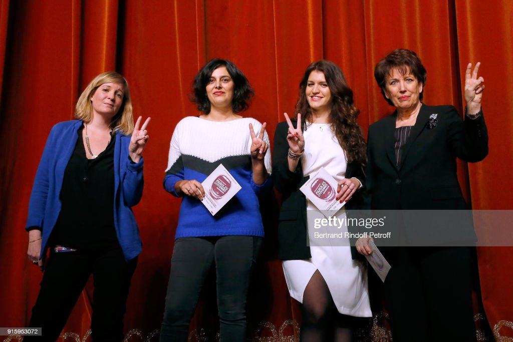 Stage Director Coralie Miller, Myriam El Khomri, State Secretary for Equality between Women and Men, Marlene Schiappa and Roselyne Bachelot; They will play the 'Vaginal Monologues - Les Monologues du Vagin' at Bobino on March 7, 2018 for the benefit of the 'Feminist Collective Against Rape - Collectif Feministe contre le viol'; attend the Presentation of the 'Citizens' Words - Paroles Citoyennes' Festival on February 1, 2018 in Paris, France.
