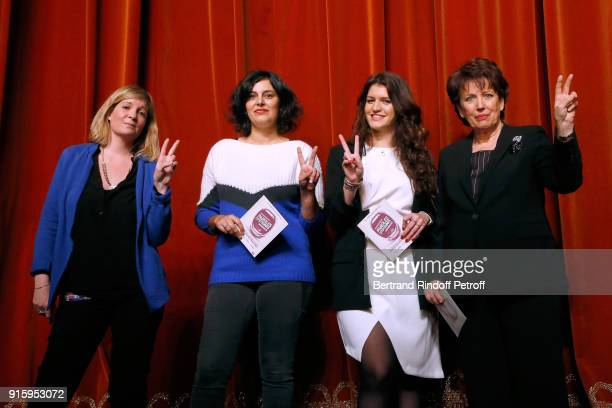Stage Director Coralie Miller, Myriam El Khomri, State Secretary for Equality between Women and Men, Marlene Schiappa and Roselyne Bachelot; They...