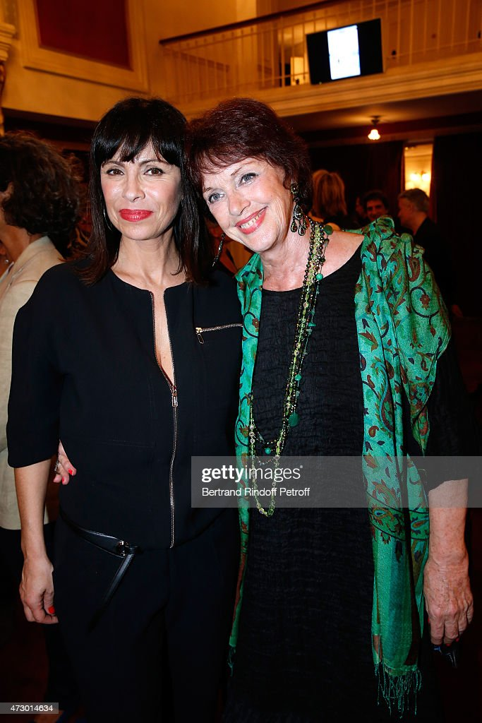 Stage Director Mathilda May and actress Anny Duperey pose after the 'Open Space' : Theater Play at Theatre de Paris on May 11, 2015 in Paris, France.