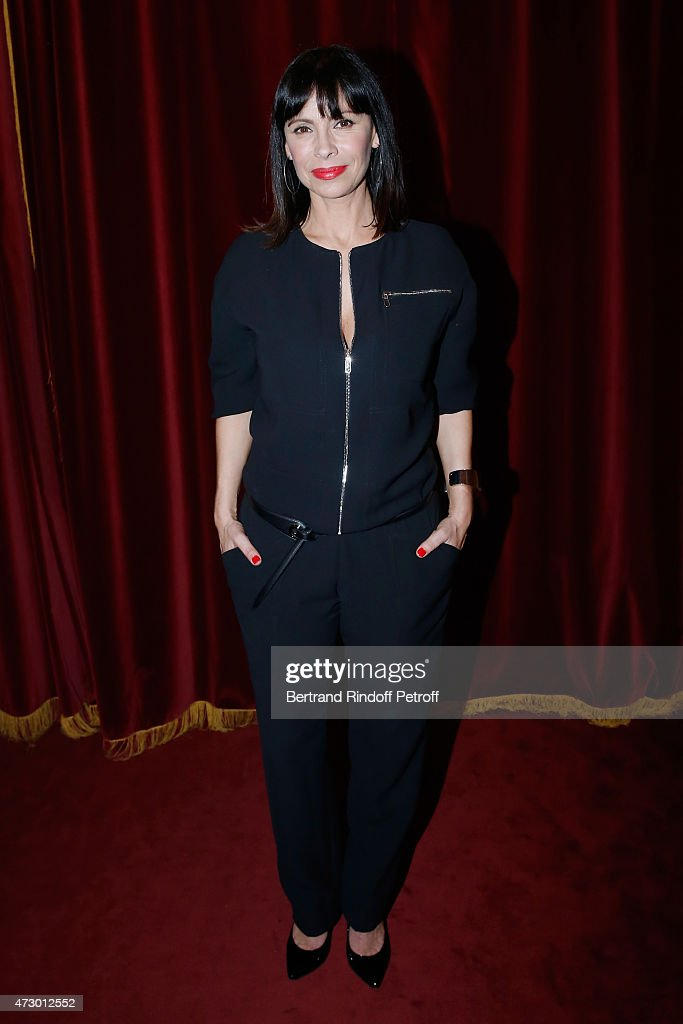 Stage Director Mathilda May postes after the 'Open Space' : Theater Play at Theatre de Paris on May 11, 2015 in Paris, France.