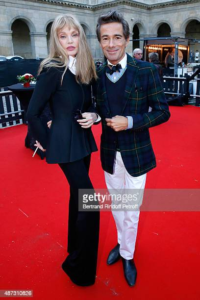 Stage Director of the Opera Arielle Dombasle and Sets and Costumes of the Opera Vincent Darre attends 'La Traviata' Opera en Plein Air produced by...