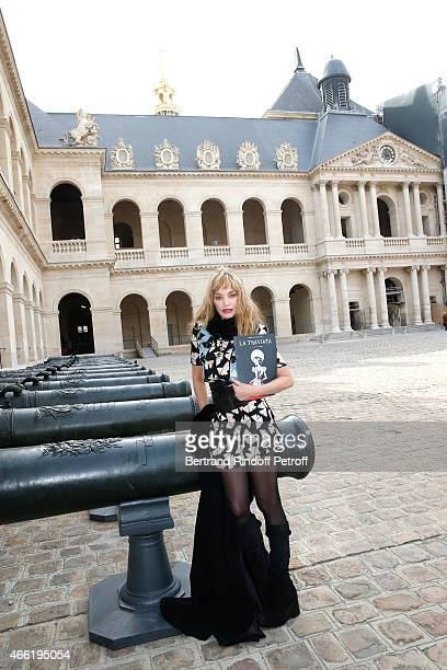 Stage Director of the Opera Arielle Dombasle attends the Opera 'La traviata' 'Opera en plein Air 2015' Press Conference Held at Invalides on March 13...