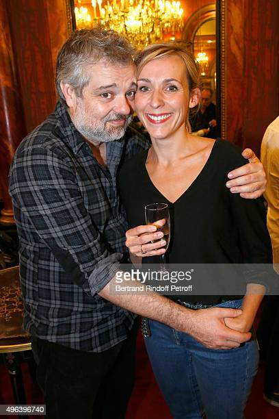 Stage Director of the Piece Christophe Duthuron and his wife attend the Theater Play 'Ne me regardez pas comme ca ' performed at 'Theatre Des...