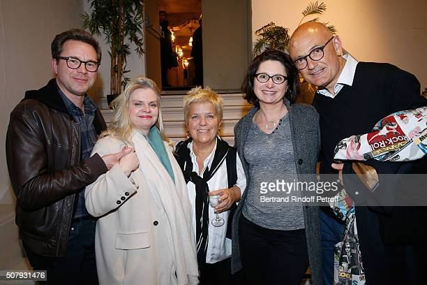 Stage Director of the Piece Isabelle Nanty Actor Guillaume de Tonquedec his wife Christelle Actress Mimie Mathy and her husband Benoist Gerard attend...