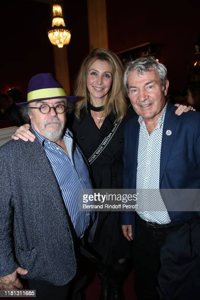 "Stage director of the show Jean-Michel Ribes, Karine Belly and her husband Martin Lamotte attend the ""Palace"" Theater Play at Theatre de Paris on..."