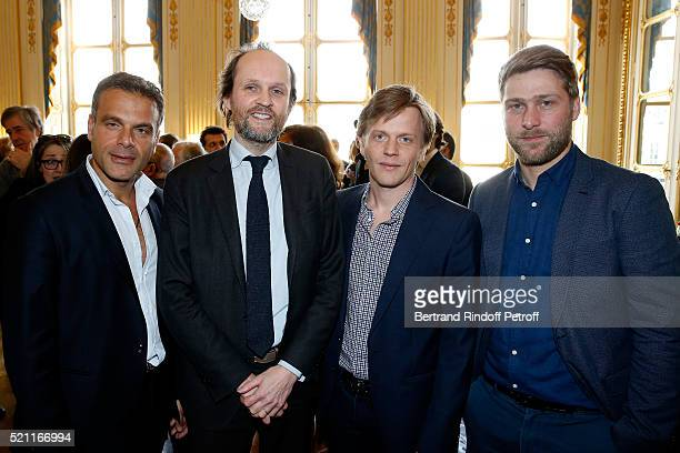 Stage director Steve Suissa producer JeanMarc Dumontet Nominated for 'Moliere de l'Humour' Alex Lutz and his stage director Tom Dingler attend the...