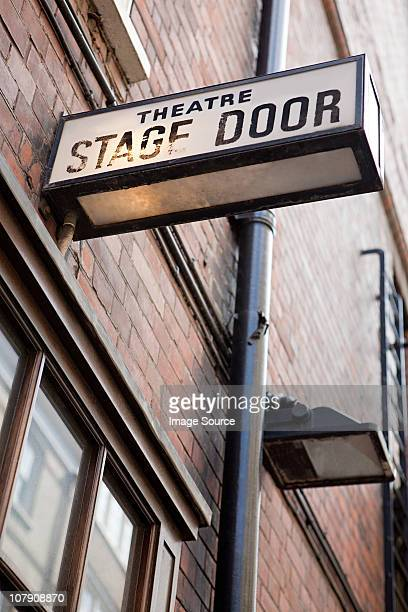 stage door of west end theatre, london - west end london stock pictures, royalty-free photos & images